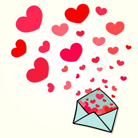 Illustration of envelope with flying out hearts