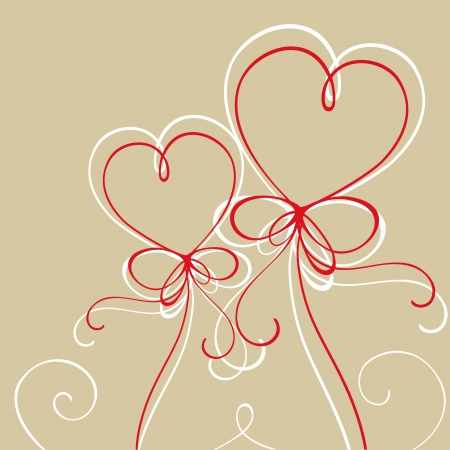 Illustration of red hearts made of threads Illustration