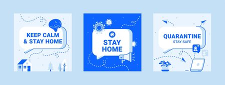 Modern templates about quarantine. Stay home safe icons with text box, speaker, virus, cat, computer and plant Çizim