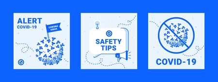 Coronavirus Safety Tips. Modern Colorful and Lines Icons. COVID-19