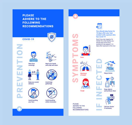 Modern COVID-19 recommendations in blue and red. Infographics template about prevention, symptoms and what to do if infected. Vertical banner, flyer or roll up Ilustración de vector