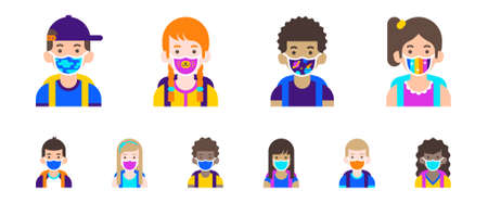 Children avatar collection. Cute boys and girls wearing colorful face masks with pattern. Students user icons. Modern flat cartoon illustration Illusztráció