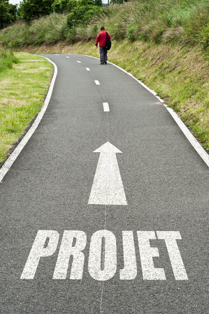 projet: man on the road concept - projet Stock Photo