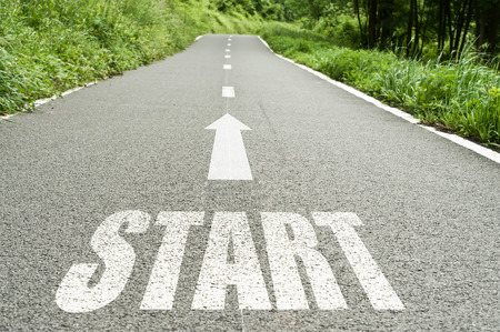 Start on the road background Standard-Bild