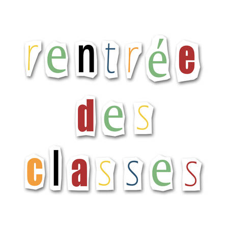creative divided word - Back to school - text in french photo
