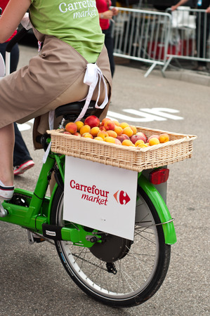 MULHOUSE - FRANCE - 13 th July 2014 - tour de France - carrefour market advertising Editorial