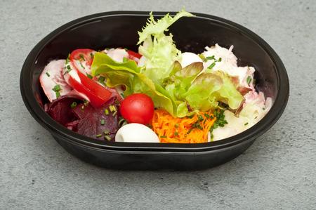 Closeup of take away bowl with fast food salad Stock fotó
