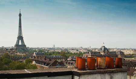 panoramic of Paris with Eiffel Tower Stock Photo