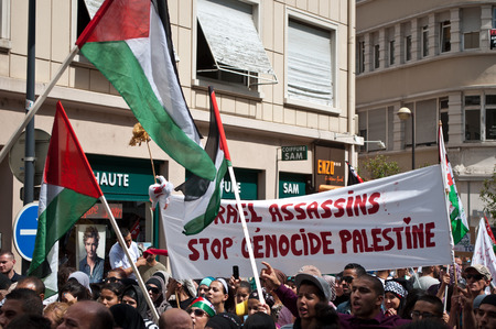bombing: Mulhouse - France - 2 august 2014 - demonstration for peace between Israel and Palestine, against the Israeli bombing in Gaza Editorial