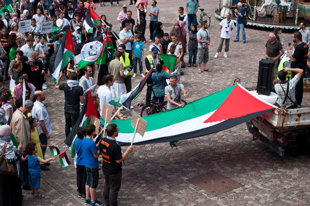 gaza: Mulhouse - France - 2 august 2014 - demonstration for peace between Israel and Palestine, against the Israeli bombing in Gaza Editorial