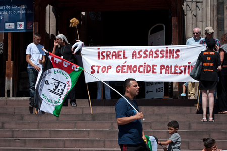 zionism: Mulhouse - France - 2 august 2014 - demonstration for peace between Israel and Palestine, against the Israeli bombing in Gaza Editorial