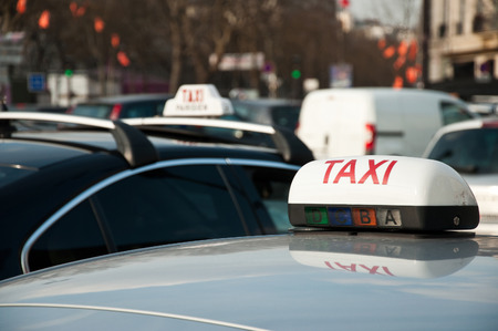 parisian taxi in ciculation in France