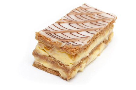 french mille-feuille cake closeup on white background