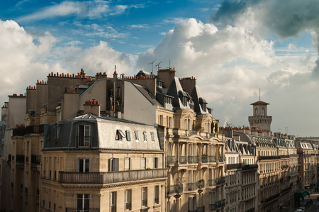 balcony design: typical ancient parisian Building in Paris - France Stock Photo