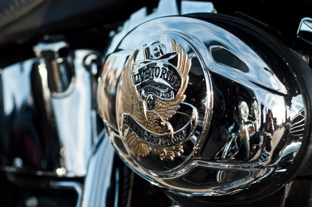 harley: Lutherbach - France - 19 October 2014 - Harley Davidson motorbke closeup Editorial