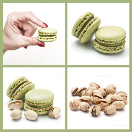 french macaron pistachio collage photo