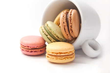 Cup of coffe with french macaron Stockfoto