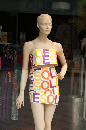 women   s clothes: model in a showroom