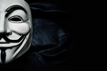 Vendetta mask symbol for the online hacktivist group Anonymous