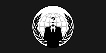 France  26 January 2015 Anonymous flag - symbol for the online hacktivist group Anonymous Standard-Bild