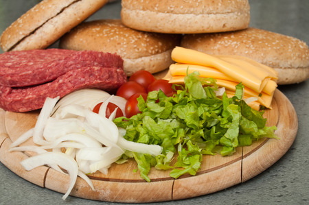 quick snack: hamburger and french fries closeup Stock Photo