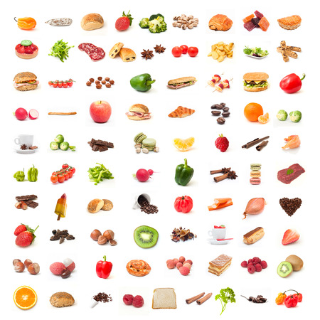 breakfast food: Ingredient food collage on white background Stock Photo