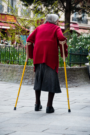 eldercare: old woman in the street