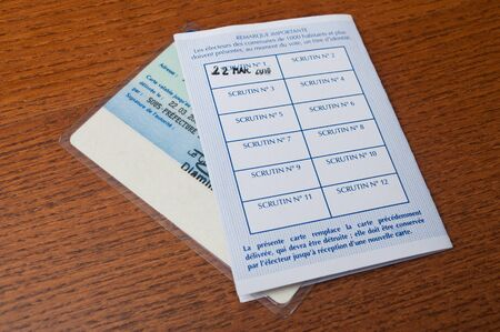 electoral: french electoral card on wooden background Stock Photo
