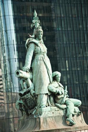 la defense: PARIS - France - 23 March 2015 - statue by Louis-Ernest Barrias. - La defense quarter Editorial