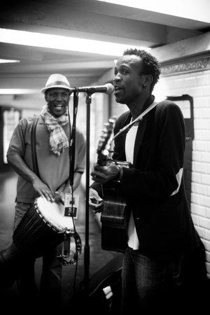 st michel: PARIS - France - 5 October 2012 - Nikerson Eveillard singer in the metro st Michel station