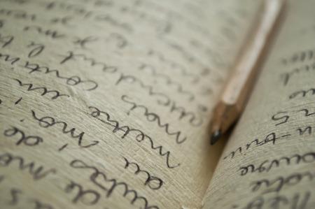 manuscript schrijven close-up