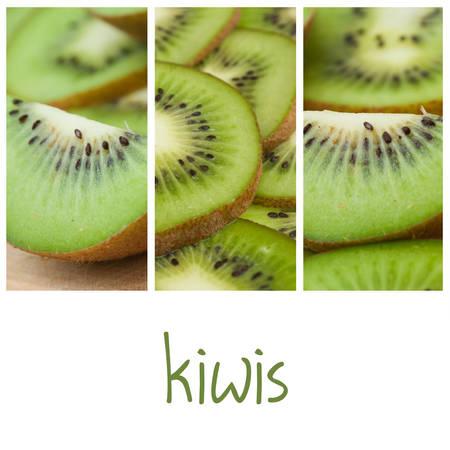 kiwis: Kiwis slices closeup collage Stock Photo