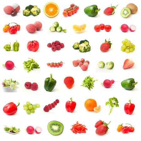 흰색 배경에 과일과 야채 콜라주 스톡 콘텐츠