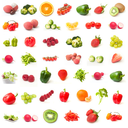 Fruits and vegetables collage on white background Stock Photo