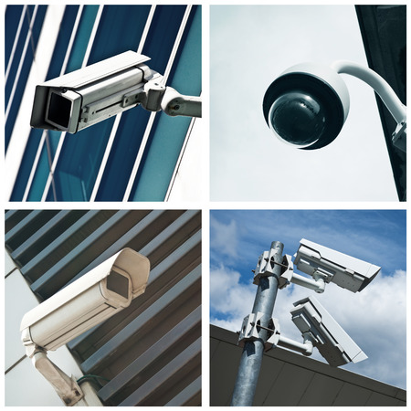 electronic security: electronic security video camera of surveillance  collage Stock Photo