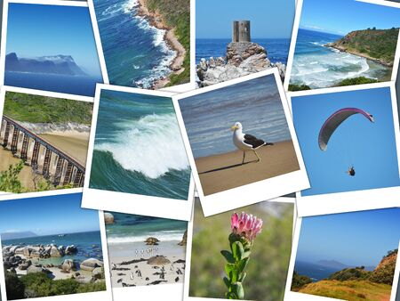 cape of good hope: Cape of good hope  south africa instant pictures collage Stock Photo