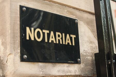 notary: notary sign in outdoor in France