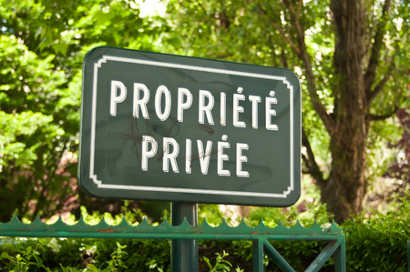 private property: private property panel text in french