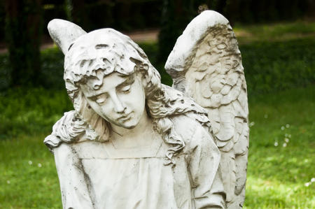 angel cemetery: angel marble statue in cemetery Stock Photo