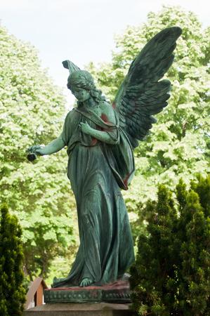 angel cemetery: angel bronze statue in cemetery Stock Photo