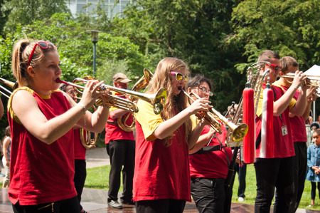 neighbors: MULHOUSE  France  31 May 2015  party district neighbors in Daguerre quarter  orchestra with brass instruments