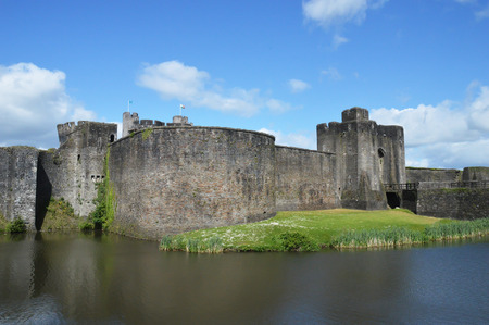 Caerphilly castle in Snowdonia Wales Stock Photo