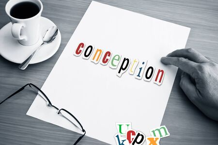 conception: concept office and word conception on white page Stock Photo