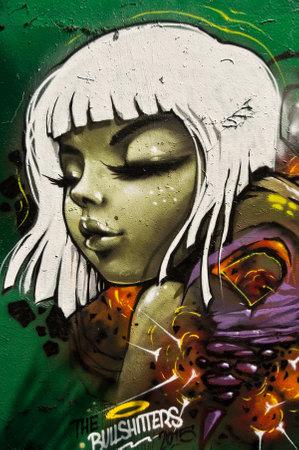sinners: MULHOUSE  France  07 June 2015  graffiti of woman during the BORAR  graffiti festival  quay of sinners in Mulhouse