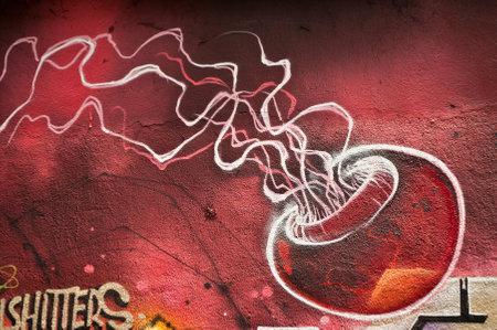 sinners: MULHOUSE  France  07 June 2015   graffiti of jellyfish during the BOZAR graffiti festival  quay of sinners in Mulhouse