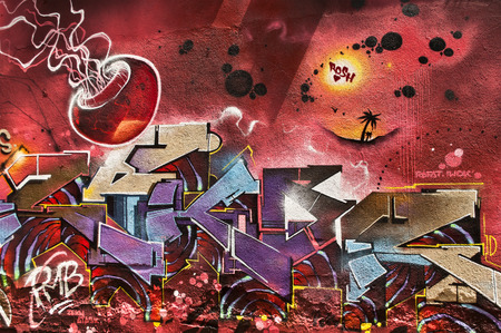 sinners: MULHOUSE  France  08 June 2015  abstract graffiti during the BOZAR graffiti festival  quay of sinners in Mulhouse