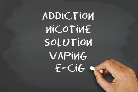 hands free device: concept chalkboard and words  ecig theme