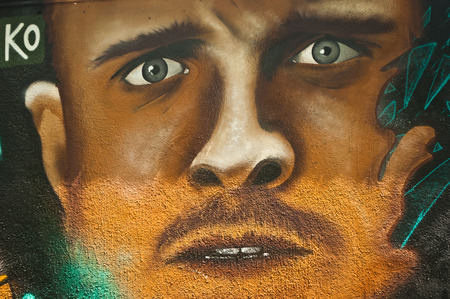 sinners: MULHOUSE  France  08 June 2015  graffiti of man face during the BOZAR graffiti festival  quay of sinners in Mulhouse