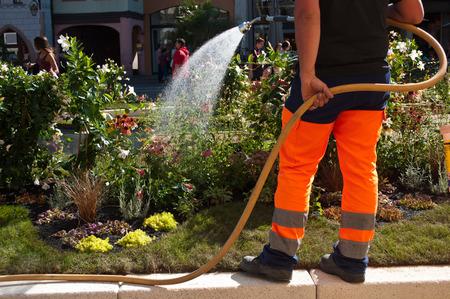 tuinman het water geven bloemen in een stadspark