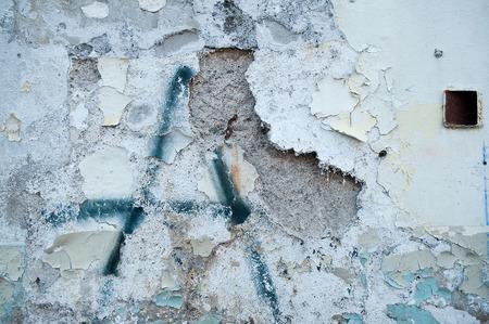 페인트 필 링와 오래 된 벽